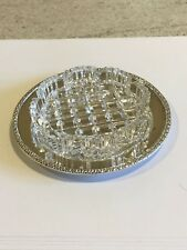 Hallmarked 1956 Silver Butter Dish Glass Bowl & Underplate Antique Tableware