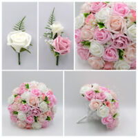 Silk Artificial Wedding Flowers Pink Coral Ivory Bouquet Posy Table Decoration