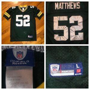 Reebok On Field Clay Matthews Boy's Green Bay Packers Sewn Jersey Size Large