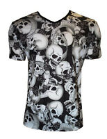 MENS BLACK & WHITE SKULLS ROSES BANNER V NECK T-SHIRT TOP GOTH PUNK EMO S,M,L,XL