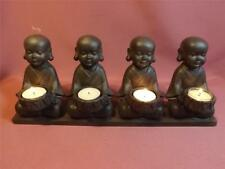 4  MONKS IN A ROW  STATUE/ TEA LIGHT CANDLE HOLDER** NEW *POLY RESIN