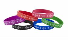 "Cross Bracelet Assortment  of 6 One of each color shown Silicone  7"" Stretchable"