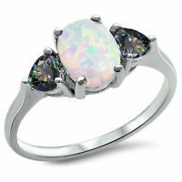 White Opal & Rainbow Cz .925 Sterling Silver Ring SIze 4-11