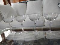 Set 4 Vintage Cut Crystal High Sherbet Champagne Glasses