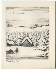 VINTAGE CHRISTMAS WINTER FAIRY LAND SNOW PINE TREES CABIN GRAVURE ART CARD PRINT