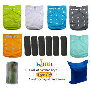 LilBit Reusable Baby Cloth Pocket Diapers, 6 pcs + 6 Bamboo Charcoal Inserts