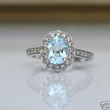 Genuine 1.70ct BLUE TOPAZ Halo RING 925 Sterling Silver Sz 7 December Birthstone