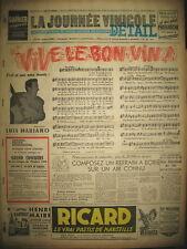 LUIS MARIANO VIVE LE BON VIN CHRISTIAN DIOR JOURNAL LA JOURNéE VINICOLE 1951