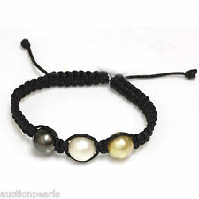 Tahitian & South Sea Pearl  Bracelet  Macrame  Adjustable 12mm
