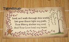 Wood Sign Plaque Decor Country Primitive Pray Lord God Spiritual