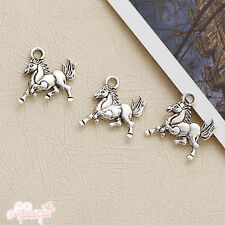 30 Pcs Tibetan Silver Zinc Alloy Horse Charm 16MM1