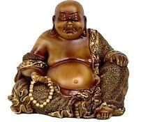 Oriental Furniture Faux Bronze Sitting Buddha Laughing Statue Figurine Fat Happy