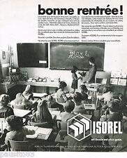 PUBLICITE ADVERTISING 065  1974  ISOREL panneaux bois  tableau d'école