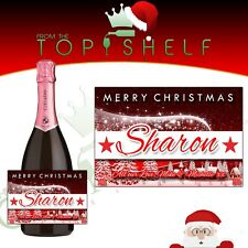 Personalised Christmas Xmas Prosecco / champagne / wine bottle label