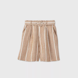 WOMEN'S BELTED HIGH-RISE SHORTS-A NEW DAY TAN XS -NEW W/TAGS