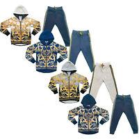 Boys Kids Tracksuit Jacket Joggers Jogging Bottoms Baroque Print Winter Fleece