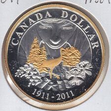 2011 Gold Plated Proof Silver Dollar From Royal Canadian Mint Set - Parks Canada