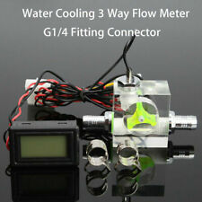 PC Water Cooling Cooler 3 Way Flow Meter w/ Digital Thermometer G1/4 Fitting