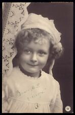 EDWARDIAN pretty CHILD close up. Original Real Photo NPG postcard 1900s Germany