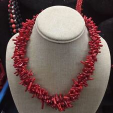 """18"""" Natural Irregular Weave RedCoral Multi-Strands Chips Beads Necklace"""