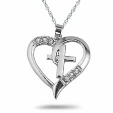 Fashion Heart Shape Cross Crystal Pendant Necklace Jewelry Mother's Day Gifts