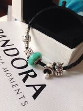 Authentic Pandora Sterling Silver Leather Bead Cross Bell Angel Charm Bracelet
