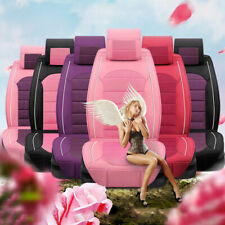 Luxury Seat Cover PU Leather 5-Seats SUV Cute Girl Front & Rear Cushion Colorful