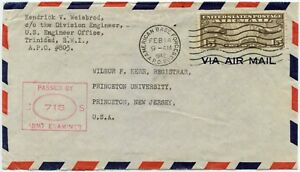 TRINIDAD AMERICAN BASE FORCES APO 803 1942 POSTMARK on AIRMAIL CENSOR ARMY 715