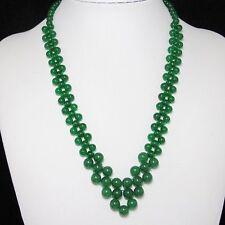 Beau Collier 54cm EN Vert Jade et Argent 925