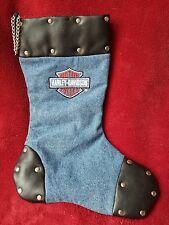 Harley-Davidson Christmas Stocking Denim Studded Leather Trim Bar Shield Logo