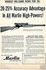 1956 Print Ad of Marlin Model 336-30/30 Carbine Micro-Groove Rifling