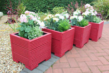 Set of Four 32cm Square Wooden Garden Planter Pot Painted in Valspar Red