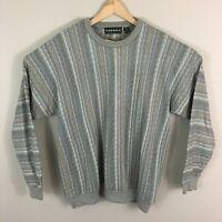 Vintage Tundra Mens Sweater Gray Blue XL XLarge Crewneck Striped Canada 90s