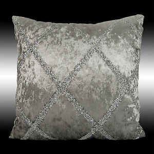 SHINY SILVER CROSS SMOOTH GRAY SOFT VELVET CUSHION COVER THROW PILLOW CASE 17""