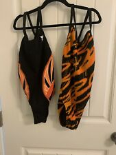 Lot Of 2 Competitive Swim Suits Size 28 Orange And Black TYR Tiger Striped