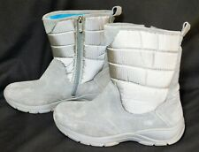 Lands End Womens Suede Nylon Rubber Sole Gray Zip Boots Size 9B