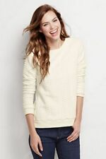 Lands End Cable Knit Jacquard Sweater Cream Canvas Size M 10 - 12 NWT