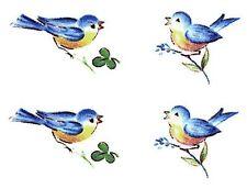 """12 Little Bluebird Blue Bird 5/8"""" and 3/4"""" Waterslide Ceramic Decals Bx"""