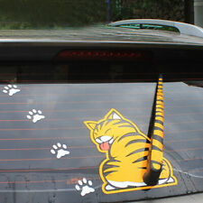 Yellow Cat With Wagging Tail Car SUV Rear Window Windshield Wiper Sticker Decal