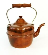 Vintage Old Dutch Copper Tea Pot Kettle w Wood Handle-Made in Portugal