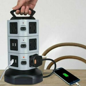 10 Ways + 4 USB Ports Smart Tower Strip Power Extension Socket with UK Plug