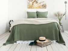 LINEN BEDSPREAD. King size moss green bedspread linen blanket throw
