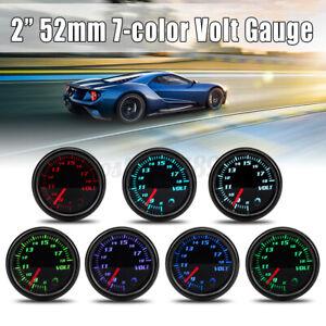 2'' 52mm Universal Car Auto 7 Colors LED Volt Voltmeter Voltage Gauge Meter 12V