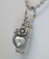 Heart Cremation Jewelry Urn Necklace Flower Memorial Keepsake Cylinder Pendant