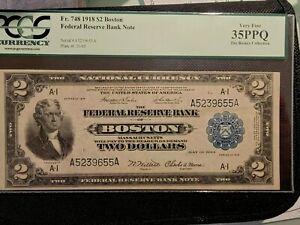 1918 $2 BOSTON MA. PCGS CERT@ VF35PPQ Fr.#748 ~BATTLESHIP~