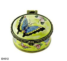 KELVIN CHEN Enamel Mini copper Treasure Trinket Toothfairy Oval BOX Butterfly