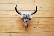 Replik Tierschädel mit Wolf Motiv Schädel Skull Bullenschädel Schädel