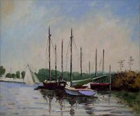 Hand Painted Oil Painting Repro Claude Monet Pleasure Boat Argenteuil 20x24in