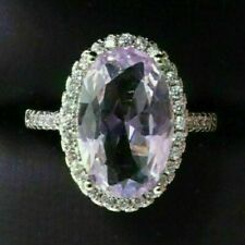 Sparkling Oval Amethyst Halo Ring Women Jewelry 14K Gold Plated Nickel Free
