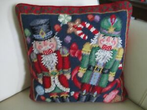 Handmade Wool Nutcracker Needlepoint Xmas Pillow Neiman Marcus